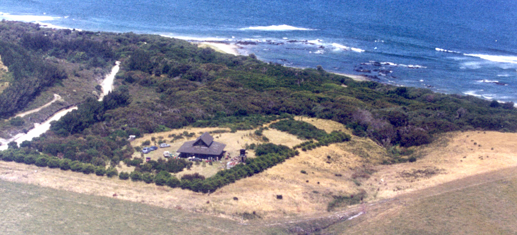 Aerial shot of Wirrega barn, showing Walkerville coastline and beach