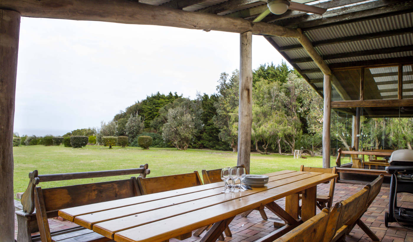 Outdoor dining area and gardens at Wirrega