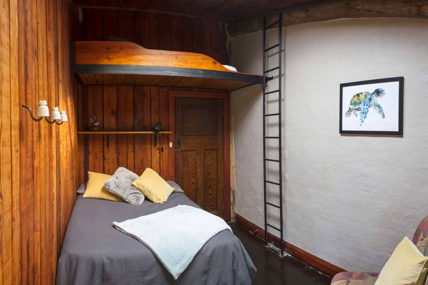 One of the bedrooms at Wirrega, with a bunk bed and ladder