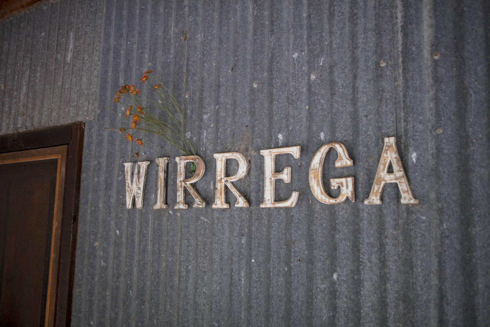 Wirrega name sign - Barn at Bear Gully